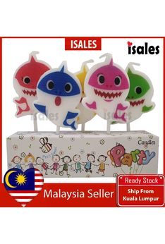 Ready Stock ISALES 5pcs set Baby shark Theme Cake Topper Birthday Candle