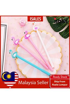 Ready Stock ISALES 1pcs Flamingo Gel Pen School office Supplies Cute Stationery Door Gift Party Supplies