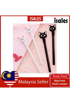 Ready Stock ISALES 1pcs Black White Cat Gel Pen School office Supplies Cute Stationery Door Gift Party Supplies