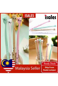 Ready Stock ISALES 1pcs Colourful Cute Kitty Gel Pen School office Supplies Cute Stationery Door Gift Party Supplies