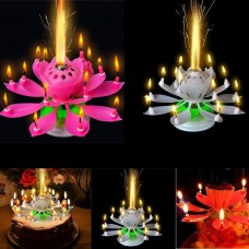 Ready Stock -Romantic Musical Lotus Rotating Birthday Candle