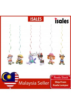 Party decoration Paw Patrol Spiral Ceiling Wall Pendant Birthday Event Banner