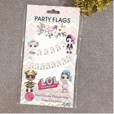 Party Decoration ISALES LOL Girl Gold design Banner Flag baby shower Kids party