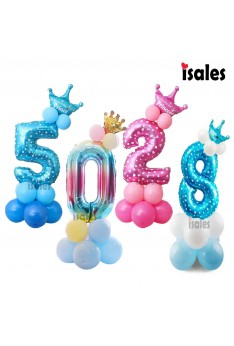 32inch Number Balloons Foil Birthday Party Balloons Birthday Party Decorations Kids Blue Pink Number Balloon