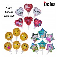Malaysia seller 5 inch Press Auto inflate balloon emoji love happy birthday star balloon