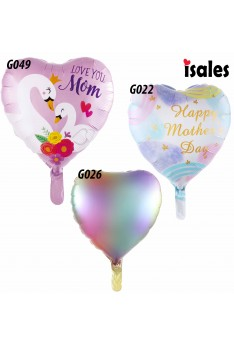 ISALES 1pcs 18 inch Love shape Love you Mum mother's day foil balloon