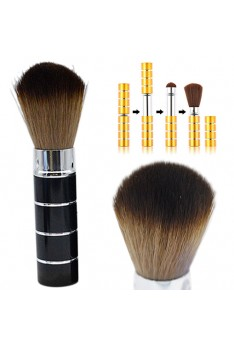 Portable Retractable Handle Makeup Brush Set Kit Pro Powder Blush Brush Black