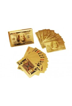 24K Gold Foil Poker US Dollar Pattern Playing Cards
