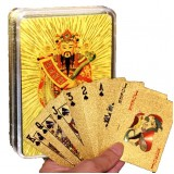 24K Gold Foil Poker God Of Wealth Pattern Playing Cards