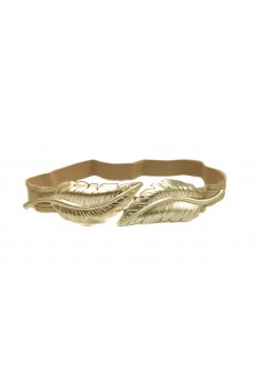 Leaves Elastic Waist Gold Belt Strap Band Waistband Waist Belts