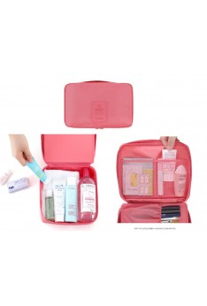 ISALES MONOPOLY Travel Multi Pouch Version 2.0 Cosmetic Make Up Toiletries Organizer Unisex (Pink )