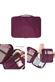 ISALES MONOPOLY Travel Multi Pouch Version 2.0 Cosmetic Make Up Toiletries Organizer Unisex (Maroon)