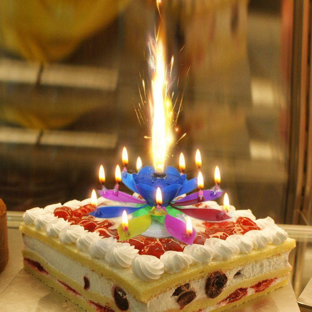 Ready Stock Romantic Musical Lotus Rotating Birthday Candle